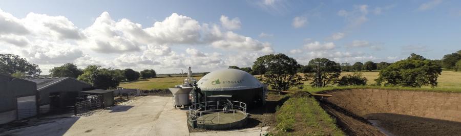 Биогазовая установка и лагуна дигестата